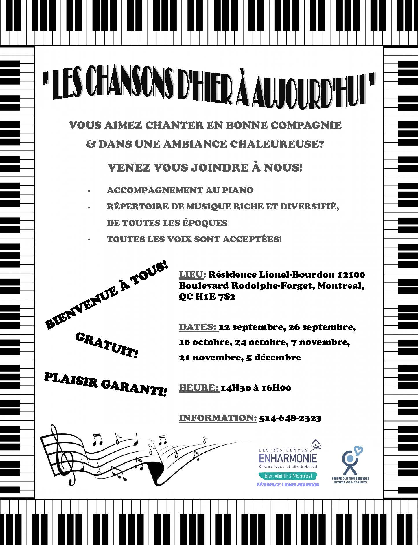 Flyer Chansons dhier a aujd