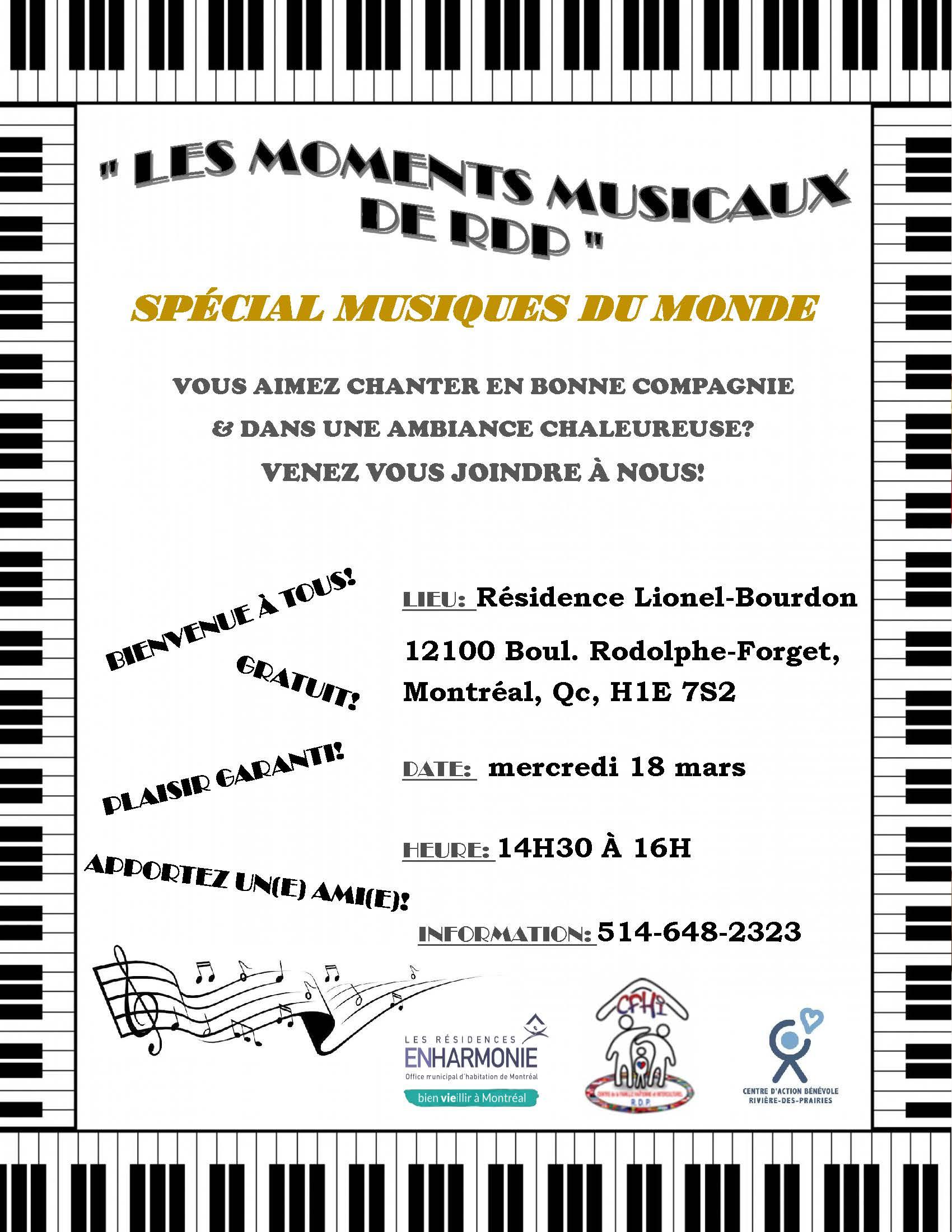 affiche SPÉCIALE Les Moments Musicaux de RDP